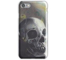Realism Charcoal Drawing of Skull on Watercolor Stained Paper iPhone Case/Skin
