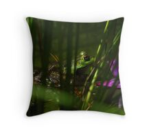 Frog in Grass Throw Pillow
