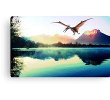 Dinosaur next to mountains Canvas Print
