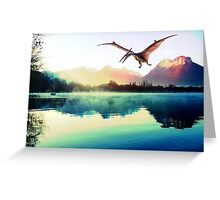 Dinosaur next to mountains Greeting Card