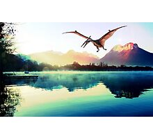 Dinosaur next to mountains Photographic Print