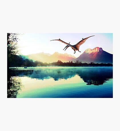 Dinosaur next to mountains Photographic Print