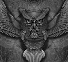 Sacred Geometry Owl B/W Sticker