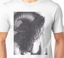 Realism Charcoal Drawing of Sexy Demon Woman Unisex T-Shirt