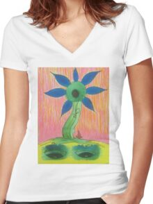 funky flower 3 Women's Fitted V-Neck T-Shirt