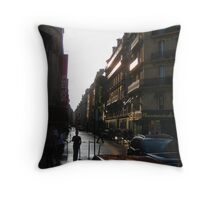 Rue du Roi de Sicile after rain, Paris Throw Pillow