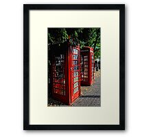2 Red telephone boxes Framed Print