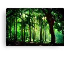 Light in the Jungles. Viridian Greens. Mauritius Canvas Print