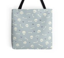 Cartoon Skulls with Hearts on Light Blue Background Seamless Pattern  Tote Bag