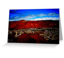 Snowy mountains, ruby walls, Kyrgyzstan Greeting Card