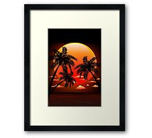 Warm Topical Sunset with Palm Trees Framed Print