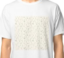 Clear floral blue on beige seamless pattern Classic T-Shirt