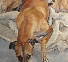 Two Galgos by Valarie Wolf