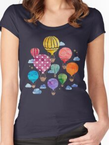 Hot Air Balloon Night Women's Fitted Scoop T-Shirt
