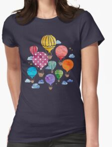 Hot Air Balloon Night Womens Fitted T-Shirt