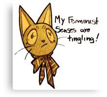 Monique, the feminist cat of color Canvas Print