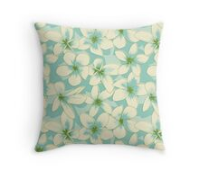 Seamless Pattern with Blue Flowers Throw Pillow
