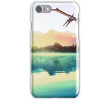 Dinosaur next to mountains iPhone Case/Skin