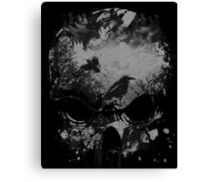 Skull with Crows - Grunge Canvas Print