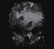 Skull with Crows - Grunge by Denis Marsili