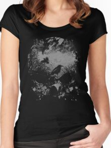 Skull with Crows - Grunge Women's Fitted Scoop T-Shirt
