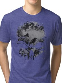 Skull with Crows - Grunge Tri-blend T-Shirt