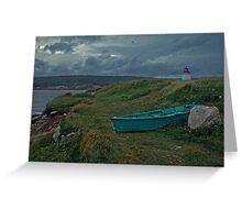 Nova Scotia skiff and lighthouse Greeting Card
