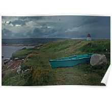 Nova Scotia skiff and lighthouse Poster