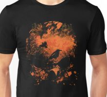 Skull with Crows - Distressed Grunge Unisex T-Shirt