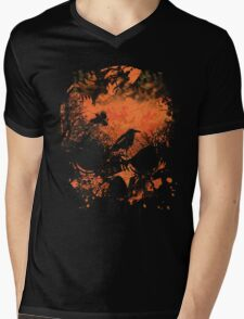 Skull with Crows - Distressed Grunge Mens V-Neck T-Shirt