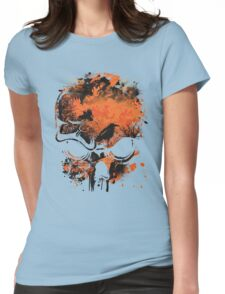 Skull with Crows - Distressed Grunge Womens Fitted T-Shirt