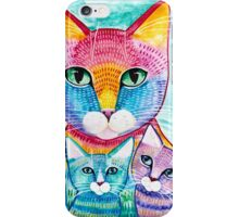 Rainbow Mom Cat and Kittens iPhone Case/Skin