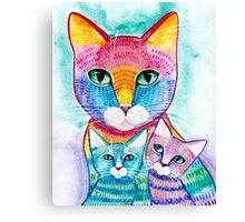 Rainbow Mom Cat and Kittens Canvas Print