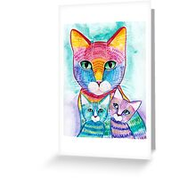 Rainbow Mom Cat and Kittens Greeting Card