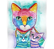 Rainbow Mom Cat and Kittens Poster
