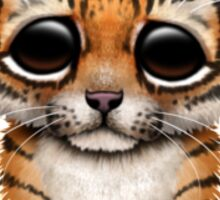 Cute Baby Tiger Cub Wearing Glasses on Brown Sticker