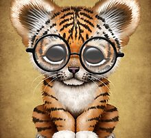 Cute Baby Tiger Cub Wearing Glasses on Brown by Jeff Bartels