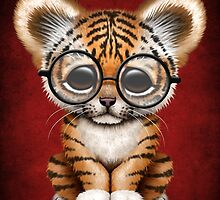 Cute Baby Tiger Cub Wearing Glasses on Red by Jeff Bartels