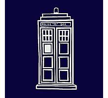 Classy white TARDIS Photographic Print