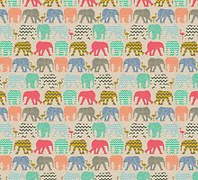 linen baby elephants and flamingos by Sharon Turner