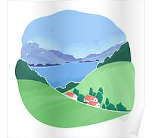 Mountain village landscape Poster