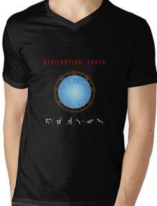 Destination Earth gate black background Mens V-Neck T-Shirt