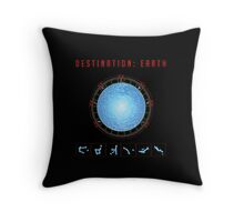 Destination Earth gate black background Throw Pillow