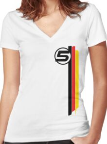 Vettel 5 - Helmet design Women's Fitted V-Neck T-Shirt