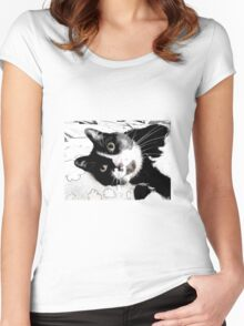 Henry, the Tuxedo Cat Women's Fitted Scoop T-Shirt