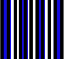 Blue Black White Stripe Bed Cover by deanworld