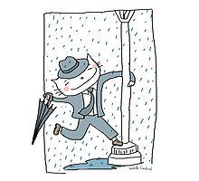 Dancing in the rain / Cat doodle Photographic Print