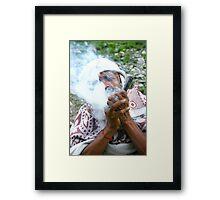 Smoking Saint Framed Print