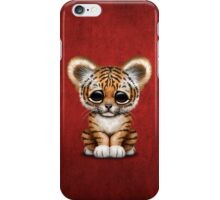 Cute Baby Tiger Cub on Red iPhone Case/Skin