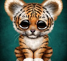 Cute Baby Tiger Cub on Teal Blue by Jeff Bartels